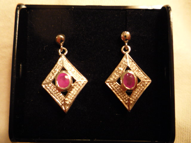 Ruby and Diamond drop earrings set in Silver - Click Image to Close