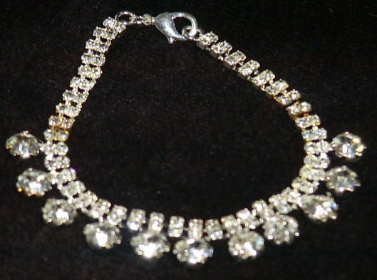 Diamante Bracelet with Drop Stones - Click Image to Close